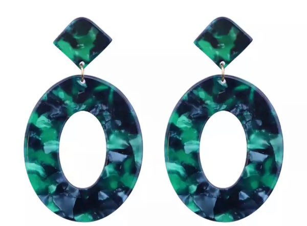 Image of Navy Green Acrylic Earrings