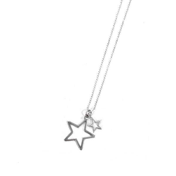 Image of Sterling Silver Double Star Necklace