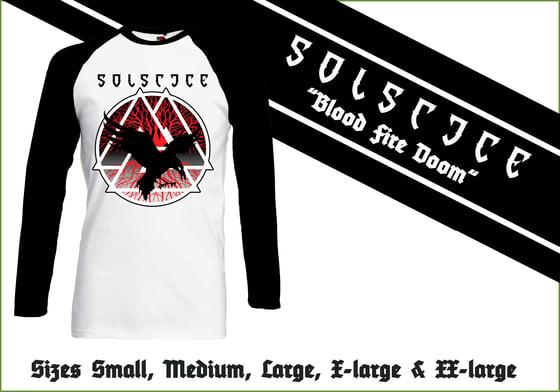 "Image of ""Blood Fire Doom"" Baseball Longsleeve Shirt"