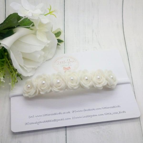 Image of Luxury White Rose Headband - 7 Rose Headband