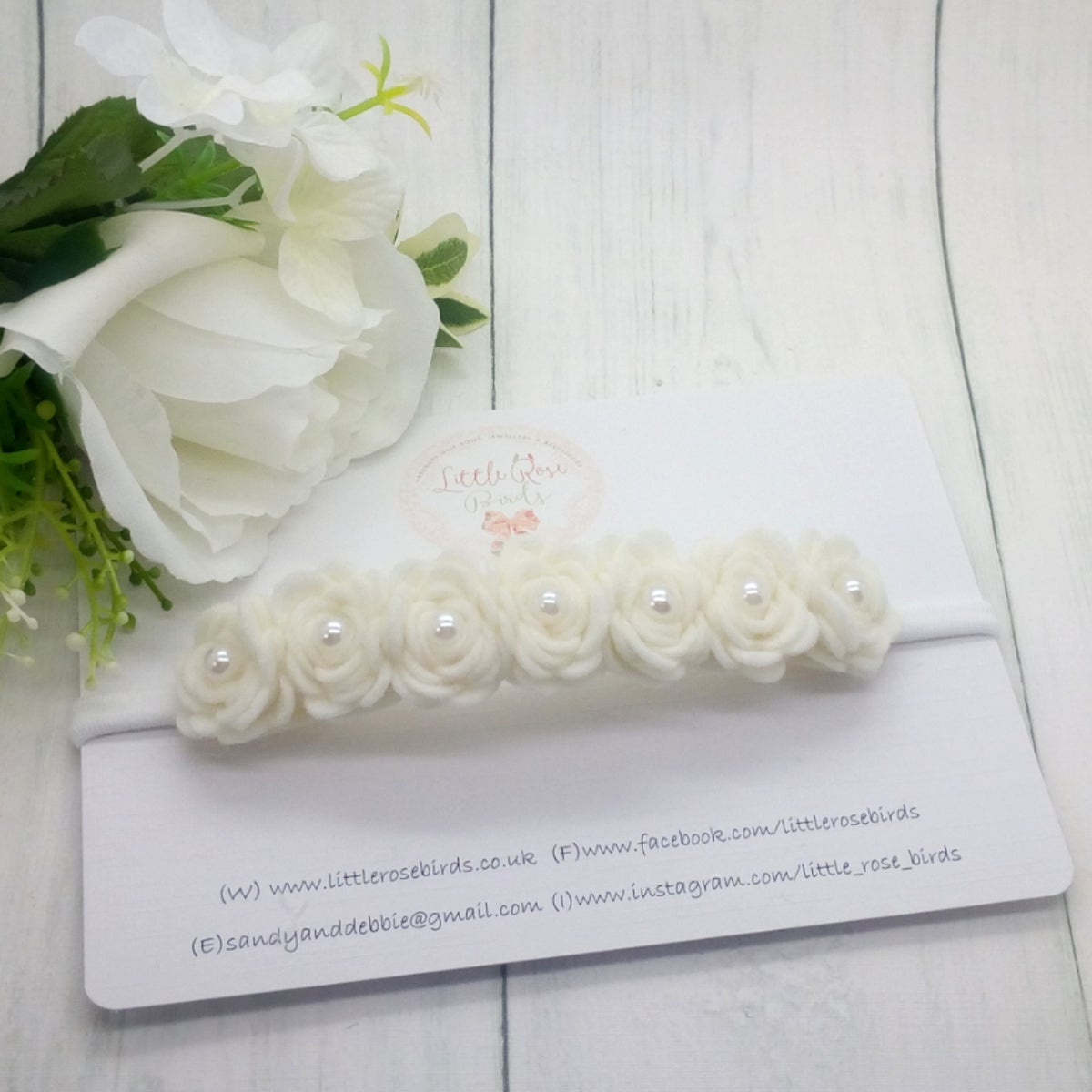 Image of Luxury White Rose Headband - 7 Rose Headband