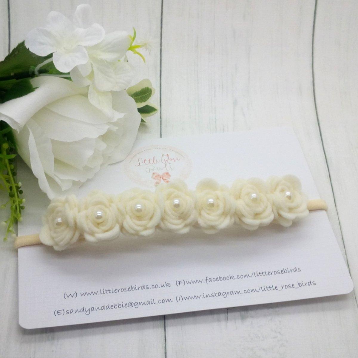 Image of Luxury Ivory Rose Headband - 7 Rose Headband