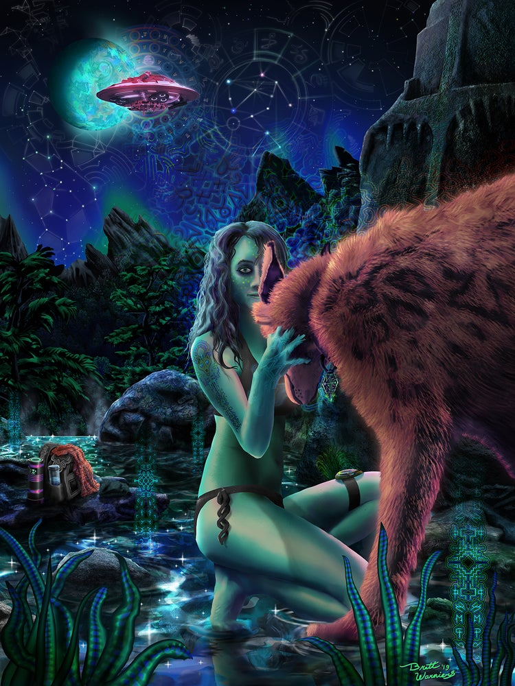 """Image of WolfCat StarRider - 12"""" x 16"""" Signed Print"""
