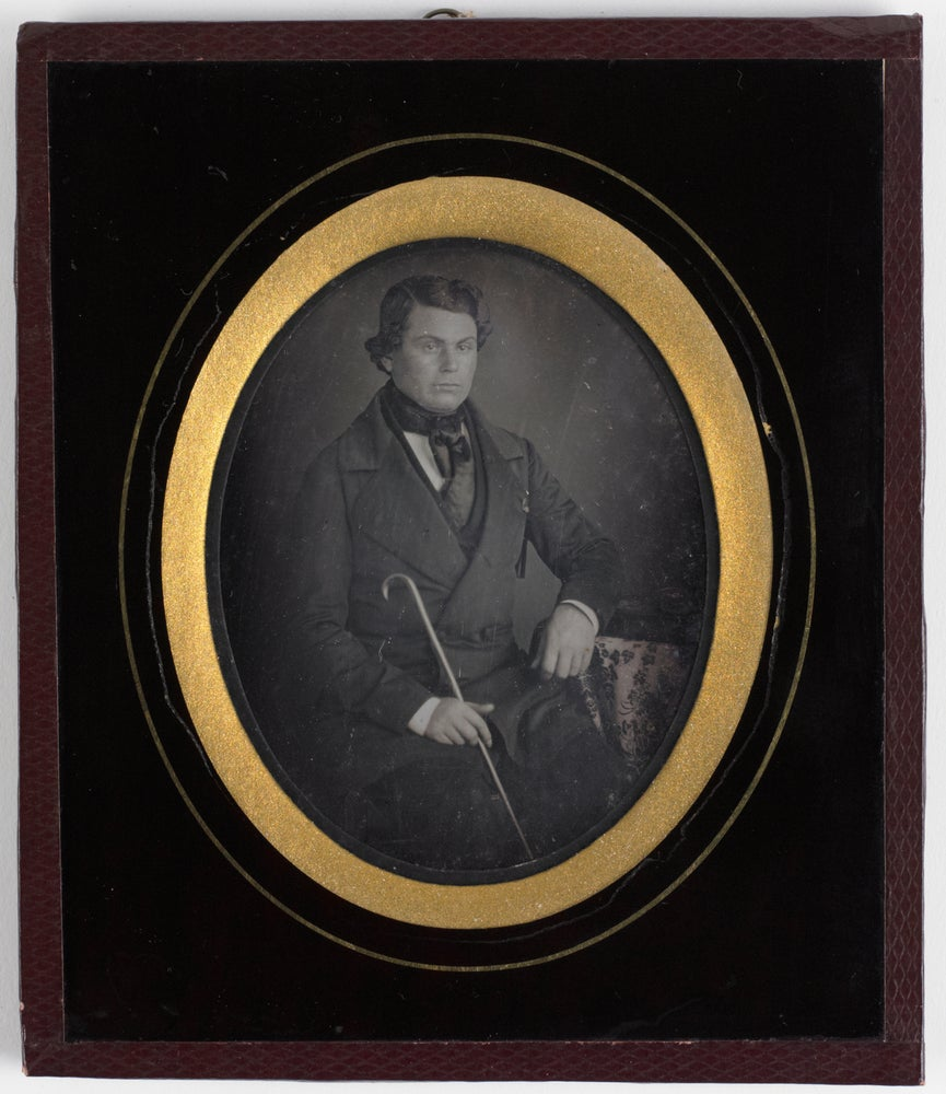 Image of Barboni: daguerreotype of a man with cane, Brussels ca. 1855
