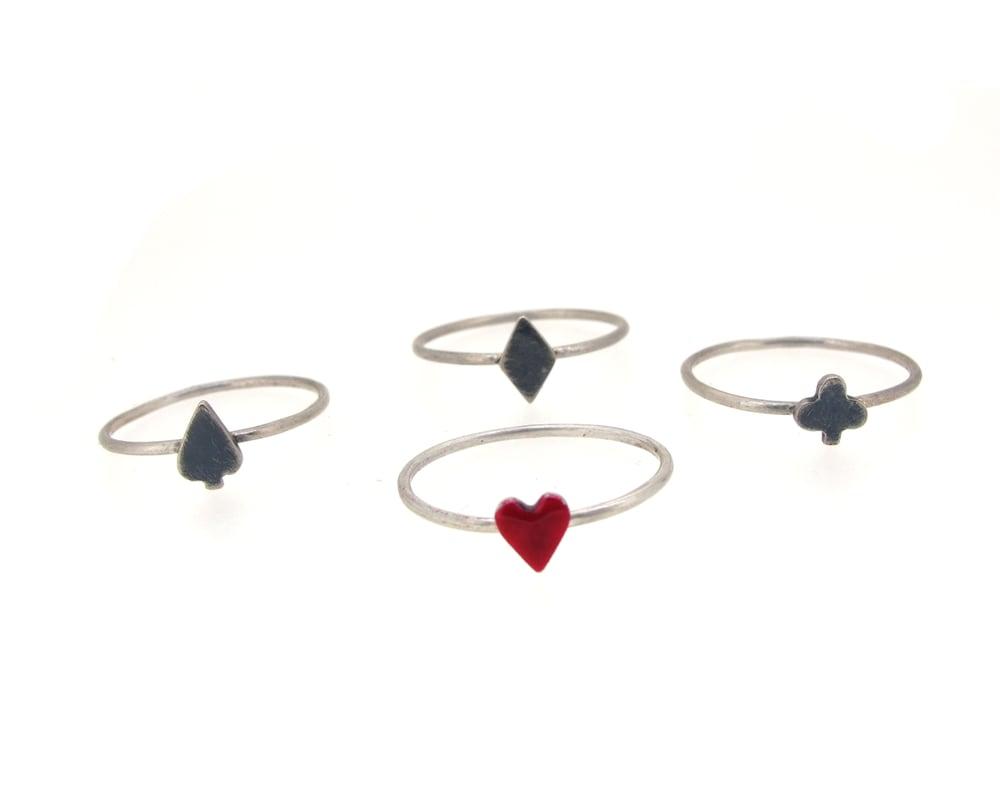 Image of {NEW} Set of 4 Wonderland playing card stacking rings