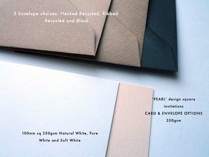 Image of Letterpress Printed Wedding Invitations - 'Pearl', set of 65
