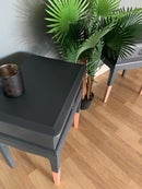 Image 3 of A pair of dark grey & rose gold stag bedside tables