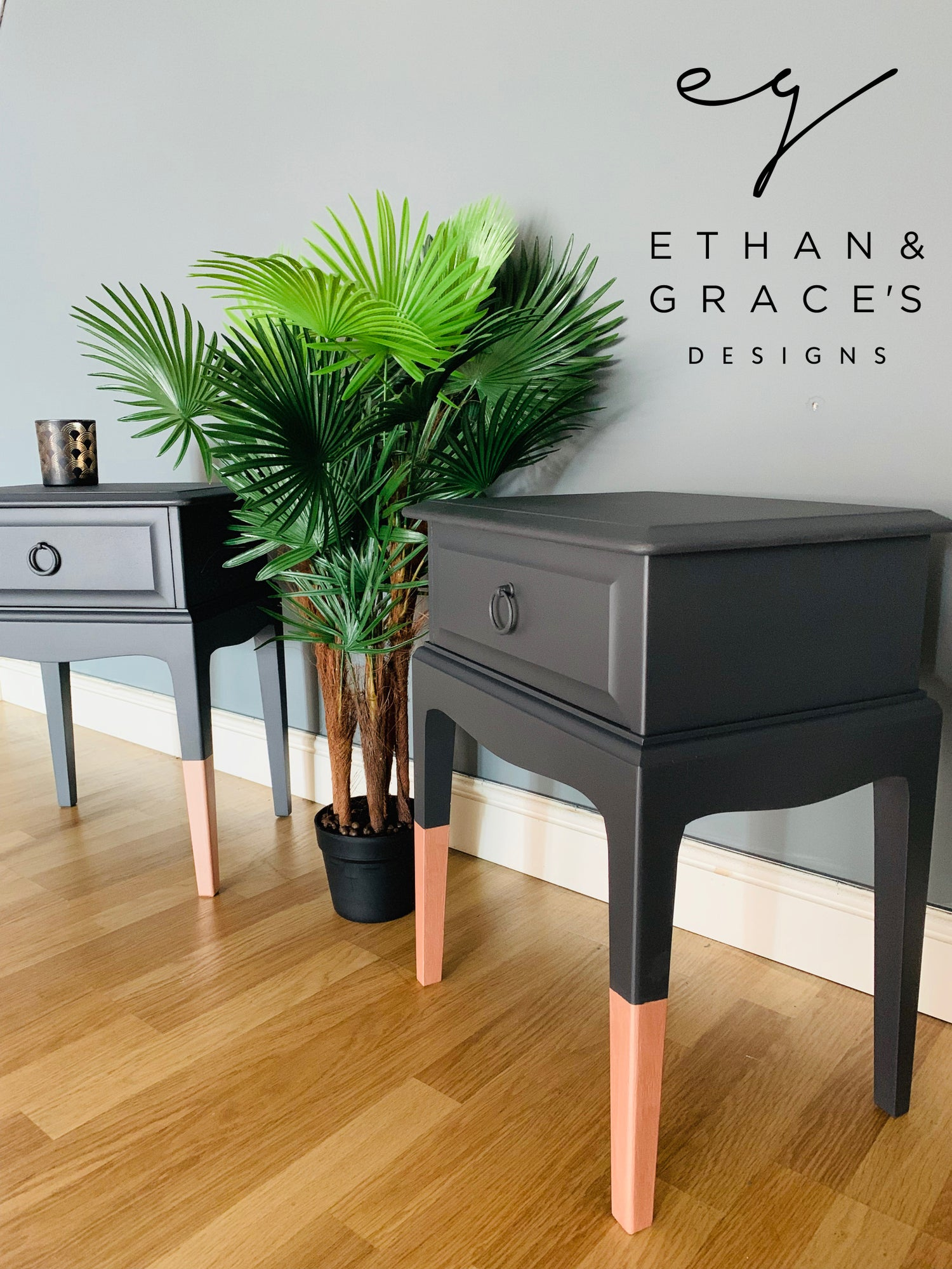 Image of A pair of dark grey & rose gold stag bedside tables