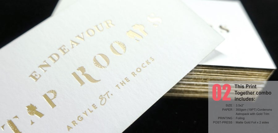 Image of #2_350gsm (19PT) Cordenons Astropack with Gold Trim, Matte Gold Foiled x 2 sides