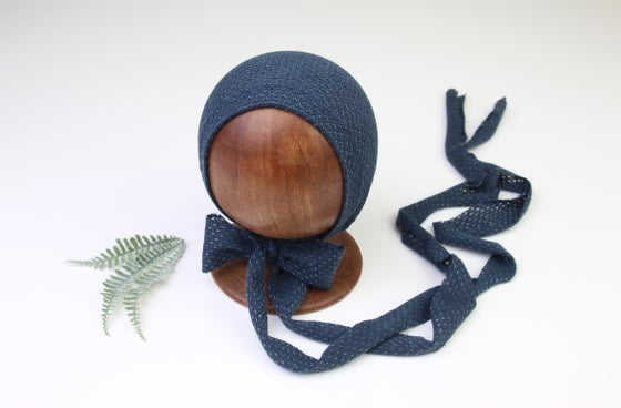Image of Navy Newborn Bonnet