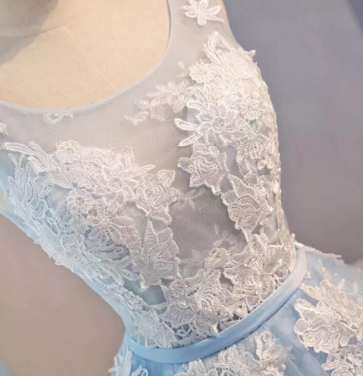 Lovely Blue Tulle Lace Applique Homecoming Dress, Short Prom Dress