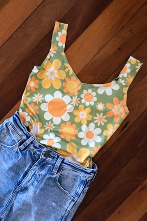 Image of Boogie nights bodysuit in our Sunny side up print (green)