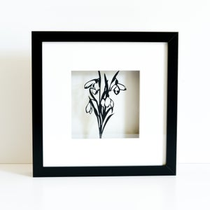 Image of Framed Snowdrop Papercut Picture