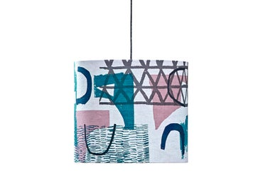 Image of 'Assemble / Configure' Lampshade- Teal / Pink / Navy / Grey
