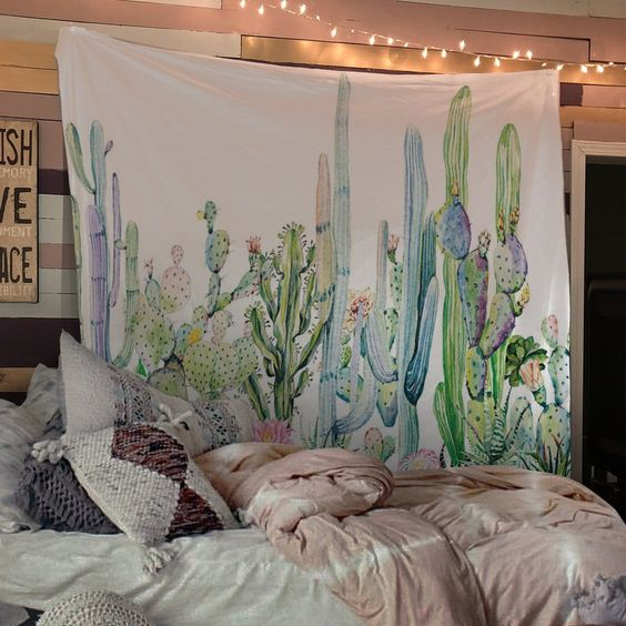 Image of Colorful Cactus Tapestry