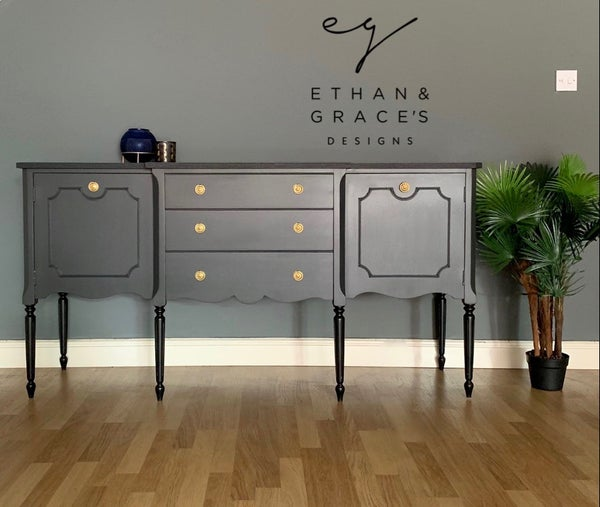 Image of A stunning dark grey & black wooden sideboard.