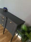Image 3 of A stunning dark grey & black wooden sideboard.
