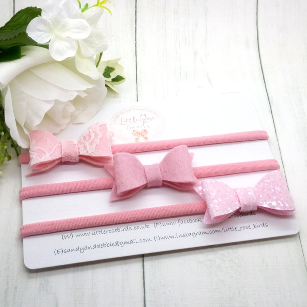 Image of SET OF 3 Pink Lace/Glitter/Felt Bow Set Headbands or Clips