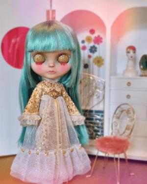 Image of LoungingLinda Gold Goddess Gown