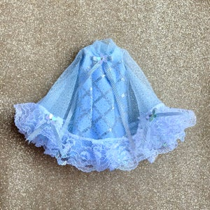 Image of LoungingLinda Blue Glitter Cape Mini Dress
