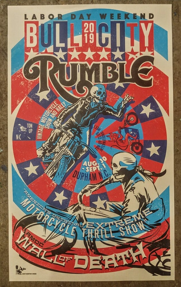Image of Large Hand Screened Poster 2019 Bull City Rumble