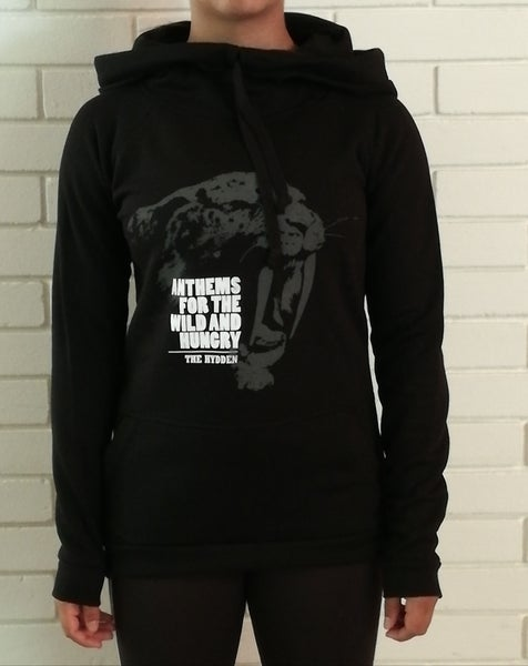 Image of The Hydden Ladies High Neck Raglan Hoody Black