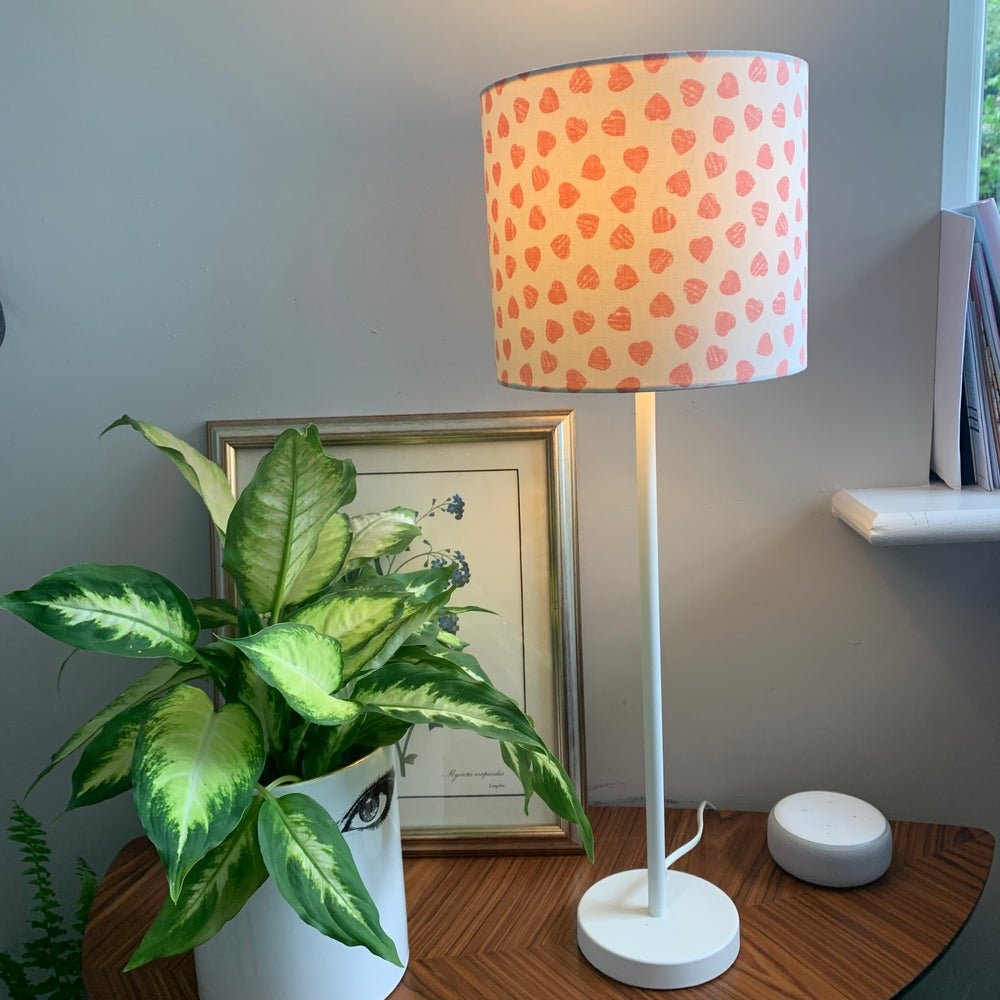 Image of Pink Hearts Cream Lampshade