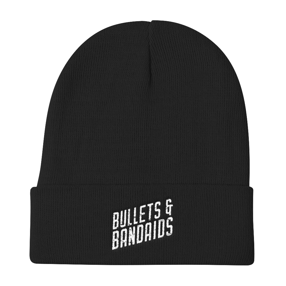 Image of Black Beanie w/White Logo