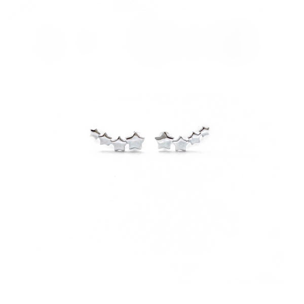 Image of Sterling Silver Star Climber Earrings