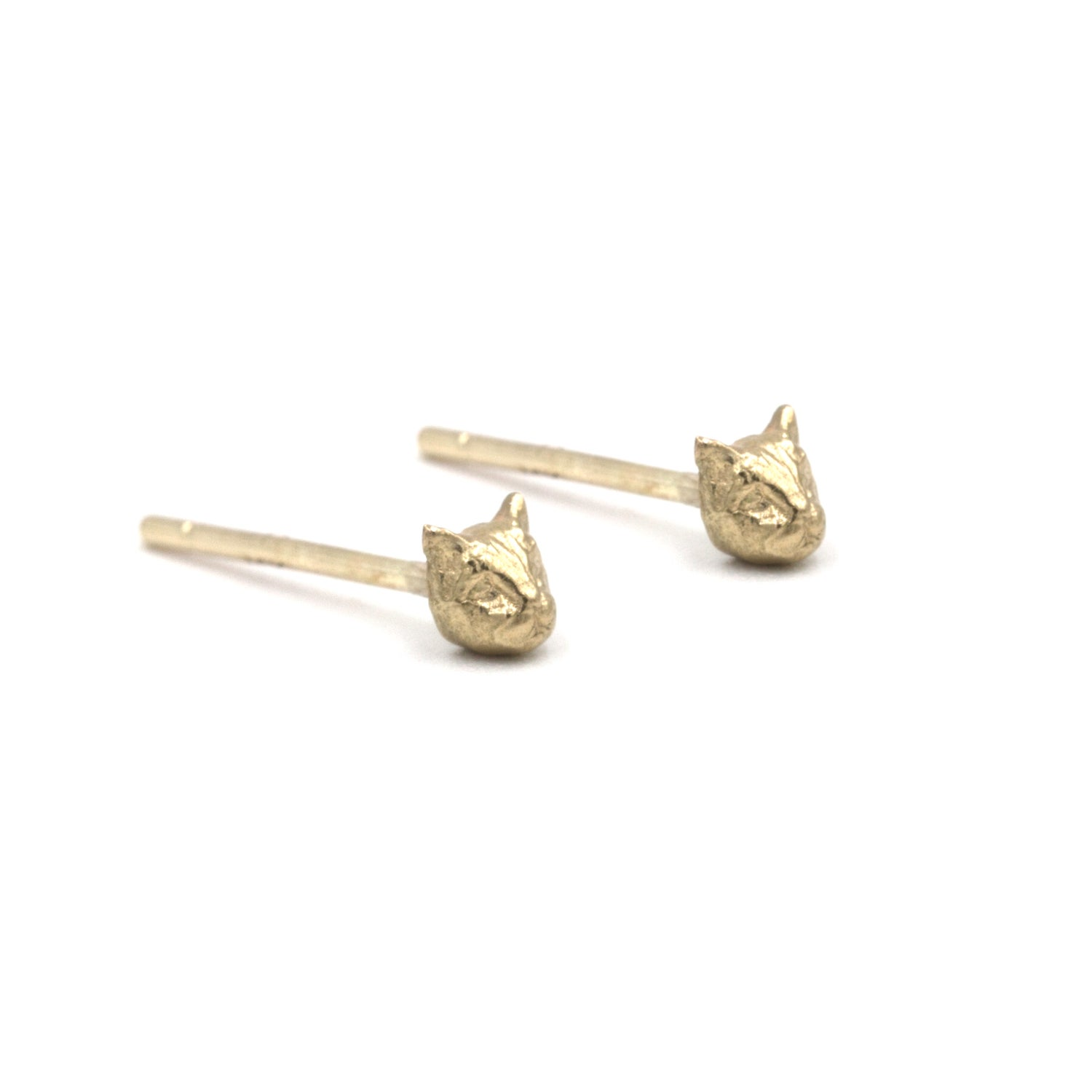 Image of Micro Cat Studs- 14K Gold