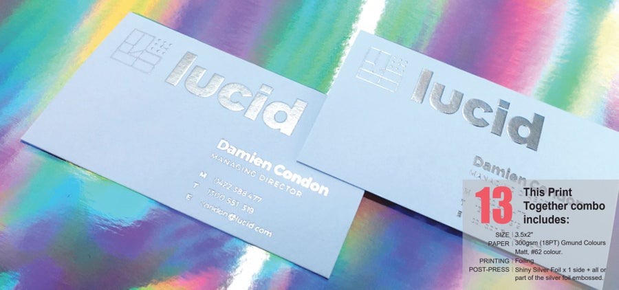 Image of #13_300gsm (18PT) Gmund Colours Matt with Embossed Silver Foil x 1 side