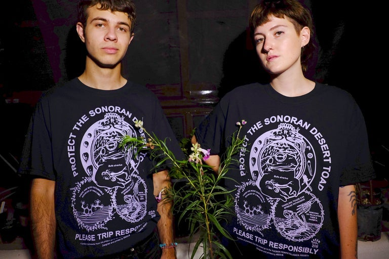 """Image of """"Protect The Toad"""" - Lilac on Black Unisex Tee"""