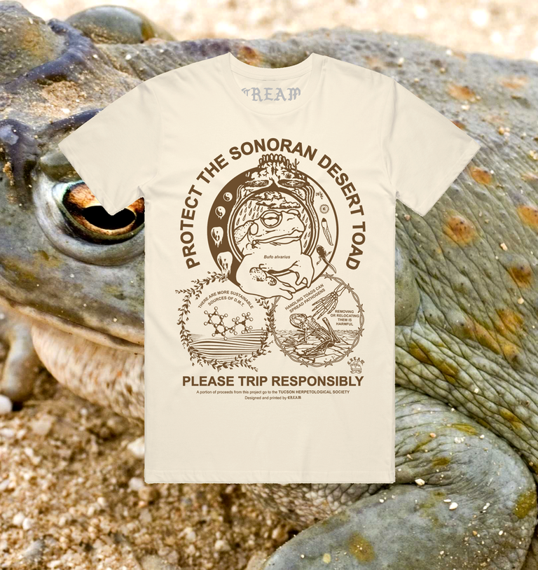 "Image of ""Protect The Toad"" - Brown on Natural Unisex Tee -"
