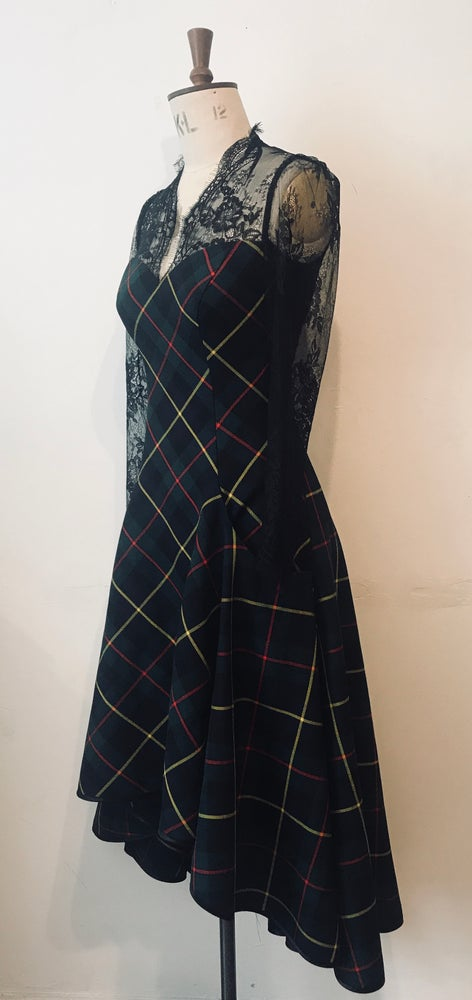 Image of Tartan and lace sweetheart waterfall dress