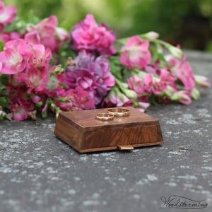 Image of Wedding ring holder, ring bearer box, wooden wedding ceremony box
