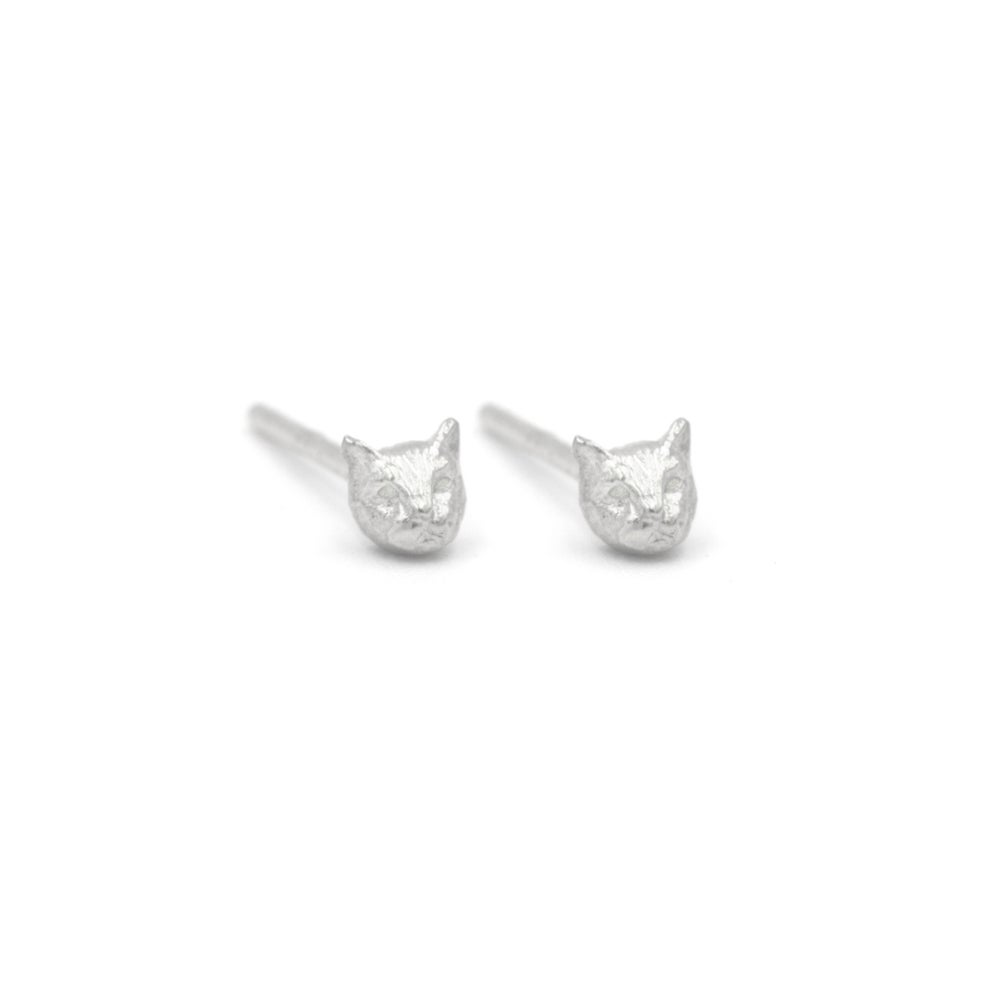 Image of Micro Cat Studs- Silver