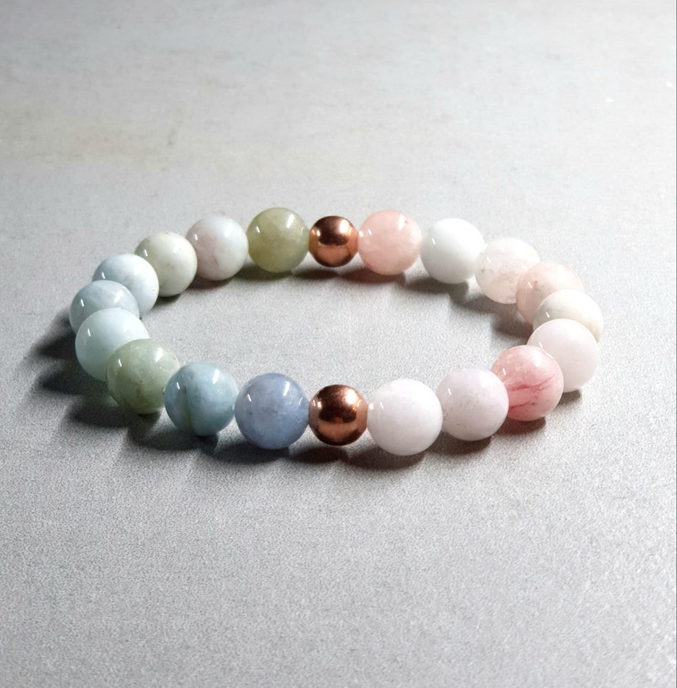 Image of Morganite / Aquamarine Bracelet with Copper 10mm