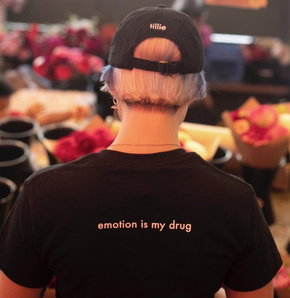 Image of 'emotion is my drug' dad hat