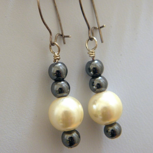Image of Earrings, Classic Glass Pearls & Hematite Beads