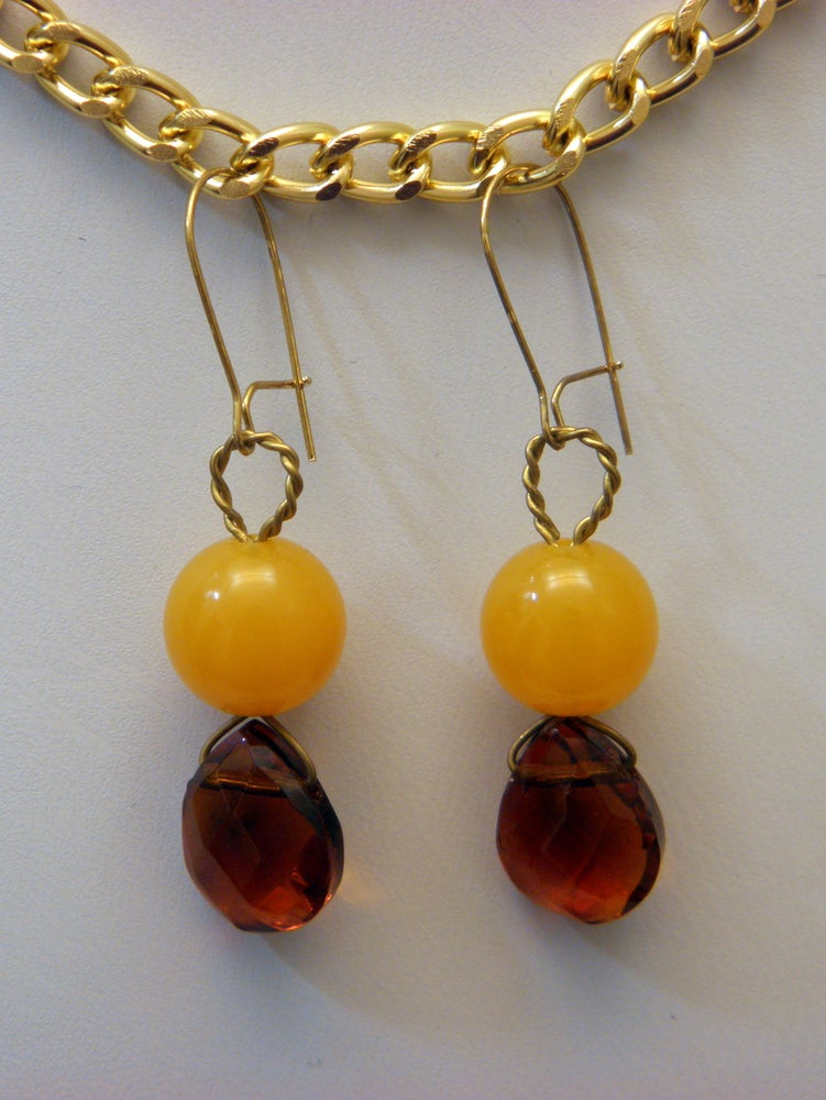 Image of Earrings, Yellow Resin & Smokey Topaz Swarovski Crystal