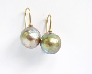 Image of Baroque  Freshwater Pearl Earrings Greenish Pink