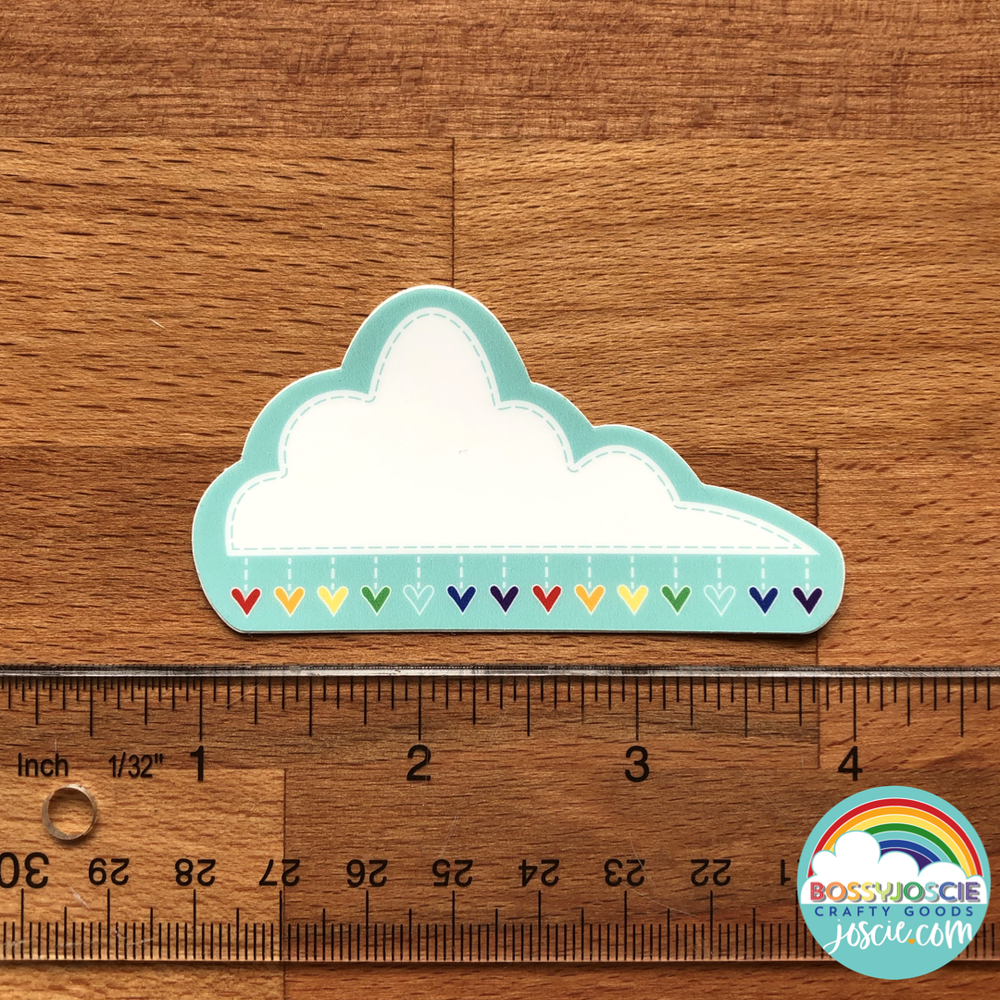 Image of Large Cloud with Rainbow hearts Sticker