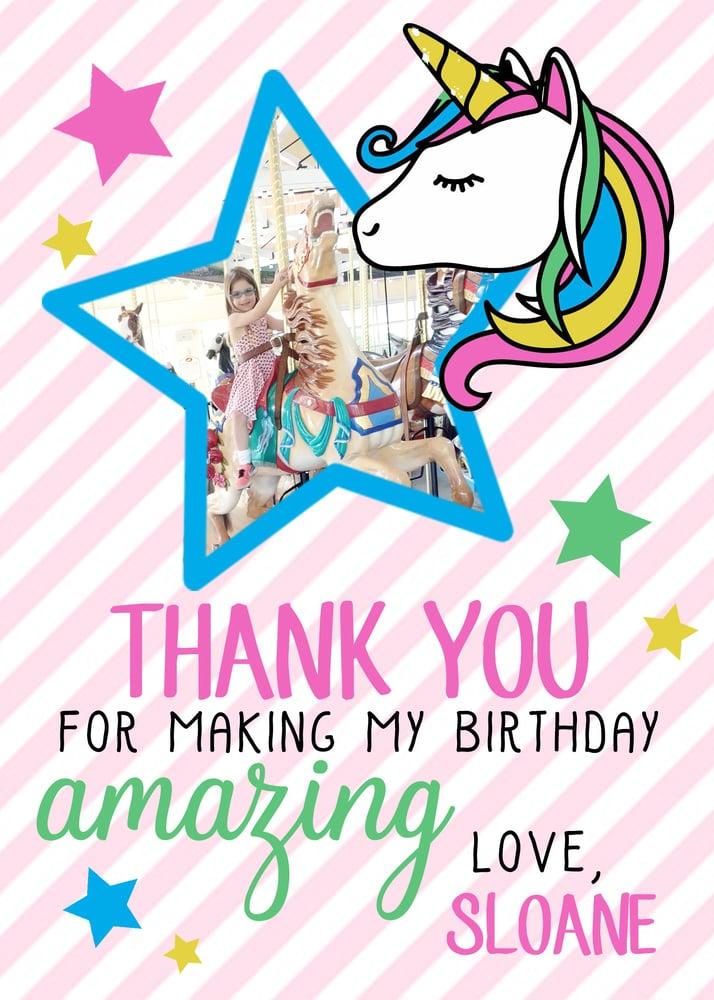 Image of Rainbow Unicorn Thank You Cards