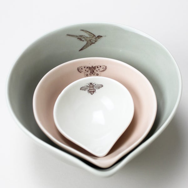 Image of nesting bowls set of three garden friends, sage-rose-ivory