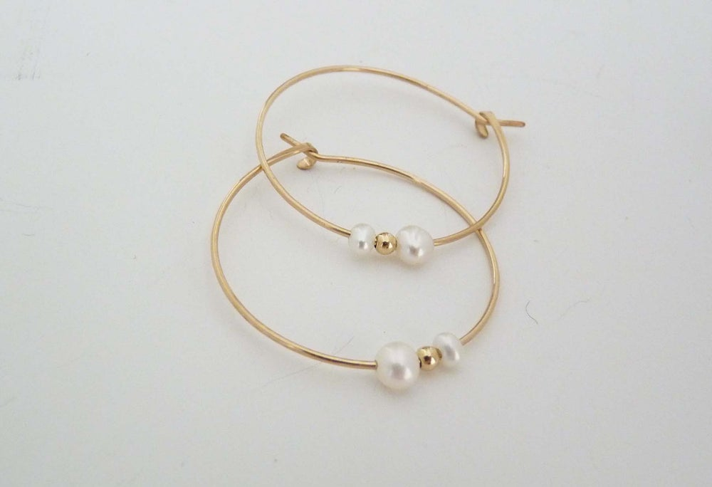 Image of Double pearl earrings
