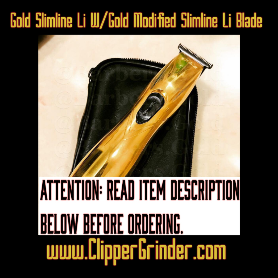 "Image of (7-8 Week Delivery/Pre-Order Only) Gold Andis Slimline Pro Li Trimmer W/Gold ""Modified"" Blade"