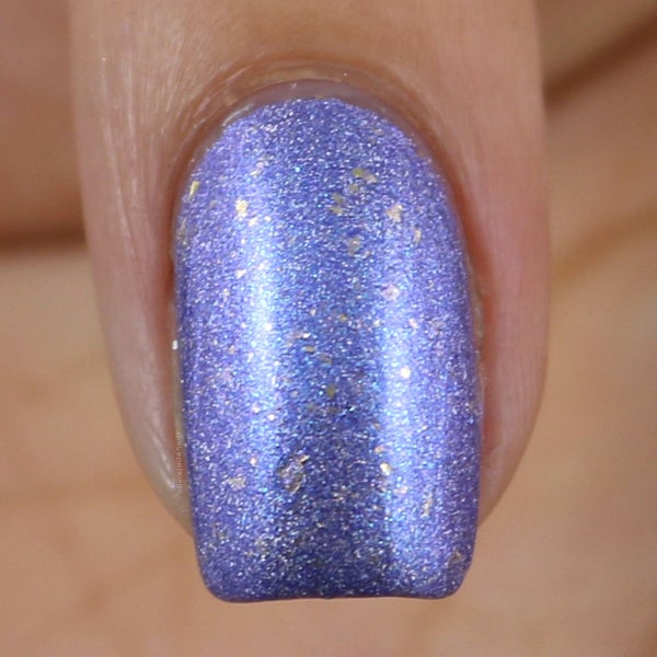 Image of Hope Floats soft periwinkle linear holo with lavender and blue shimmer with gold flakes