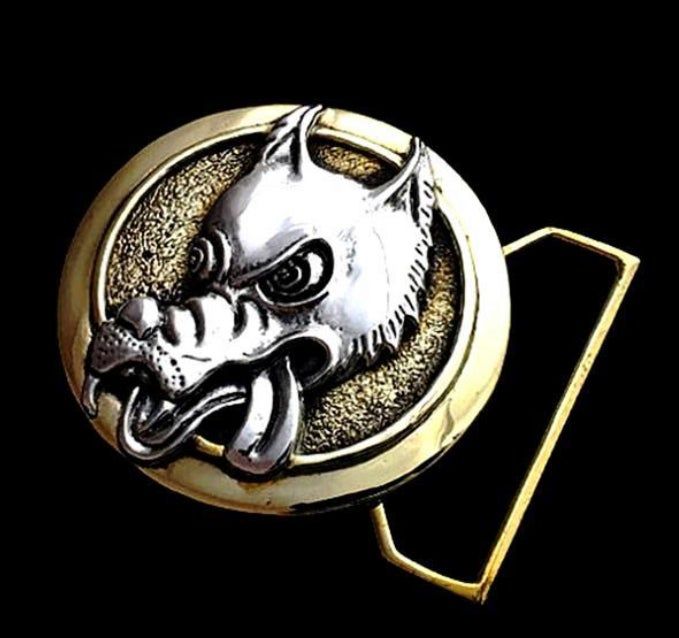 Image of Wolf Buckle Cast in Sterling Silver & Yellow Brass