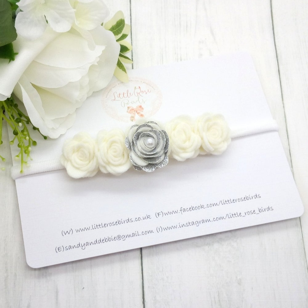 Image of White & Silver Rose Glitter Detail Flower Crown