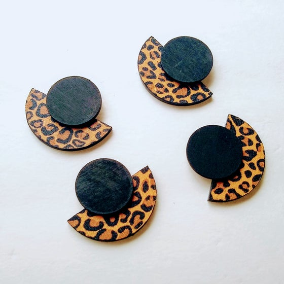 Image of Limited Edition: Leopard Geometric Stud Earrings